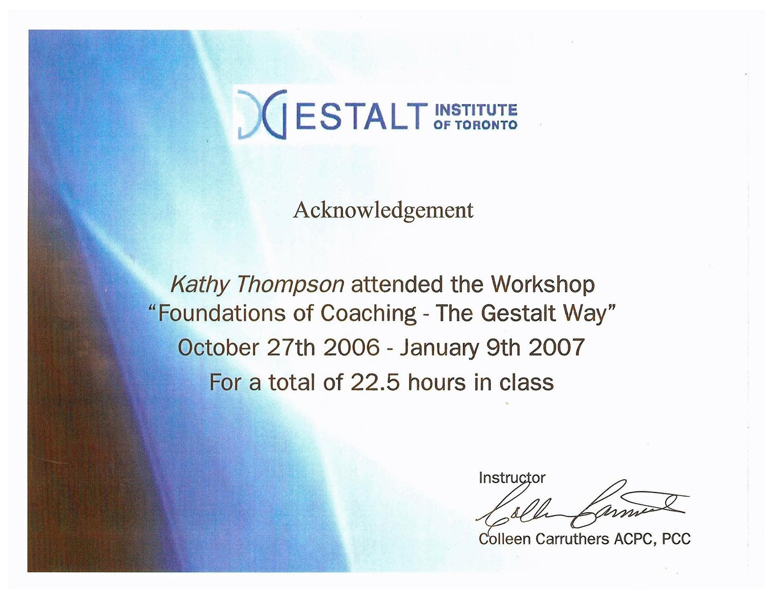 Gestalt Coaching Master Course