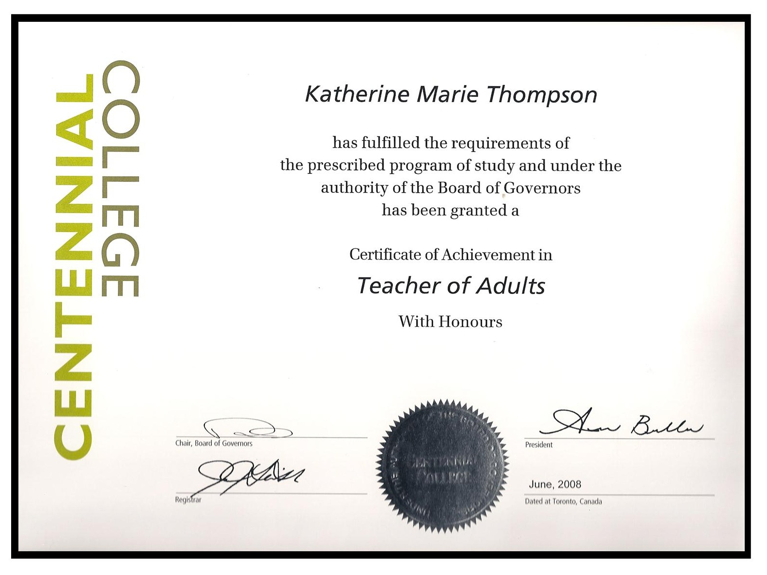 Certified Teacher of Adults