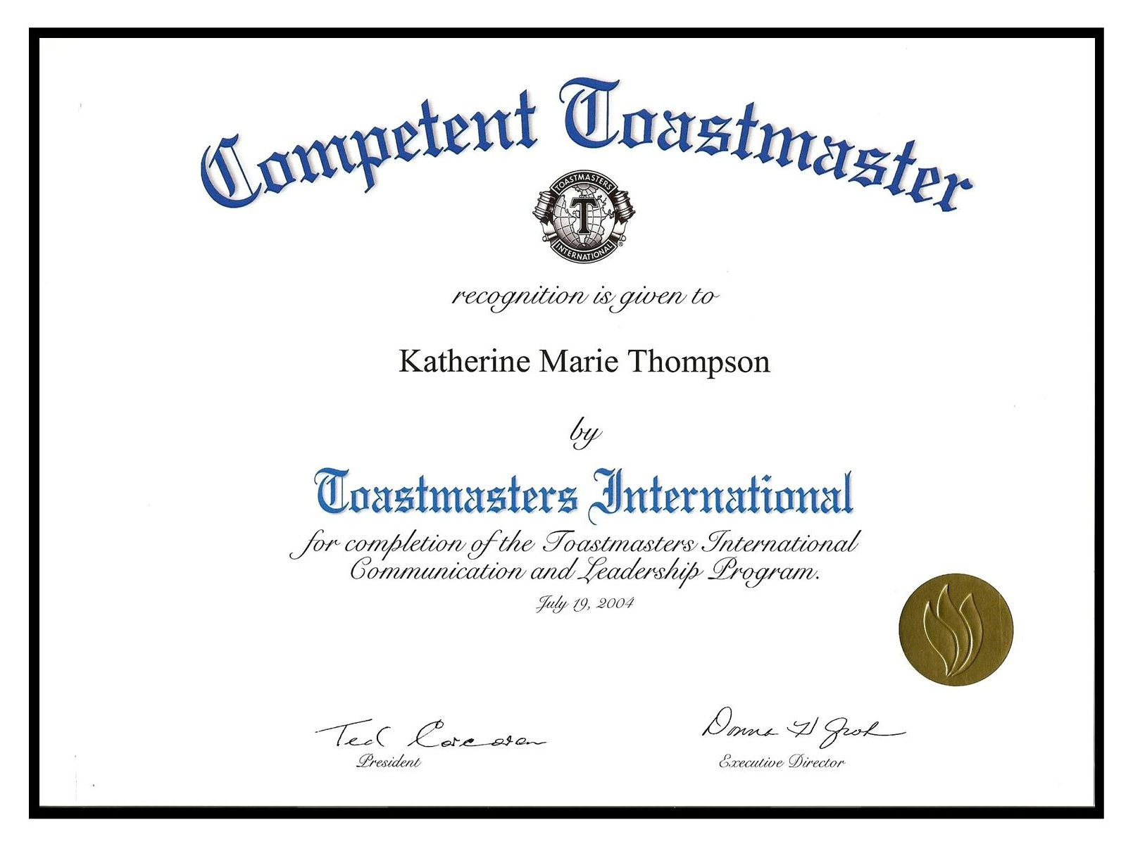 Toastmaster - Competent Certificate