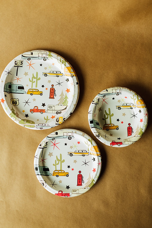 """Road Trip Eco-Friendly 8 1/2"""" Paper Snack Plates - 24 count"""