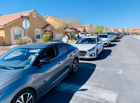 """We Miss You"" Parade in Nellis AFB Family Housing"