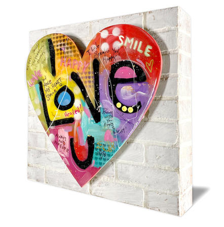 """""""I LOVE YOU"""" ON THE WAULL.  SOLD    Original acrylics on 3D wood panel 24"""" X 24"""""""
