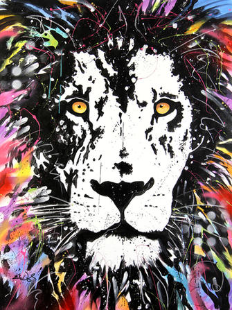 """""""LION HEARTED"""". SOLD Original acrylic on canvas 36"""" x 48"""""""