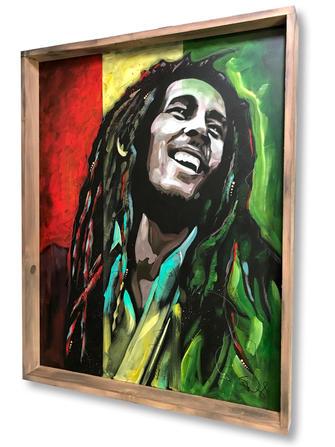 """BOB MARLEY"". SOLD Original acrylic on canvas with custom frame 30"" X 40"""