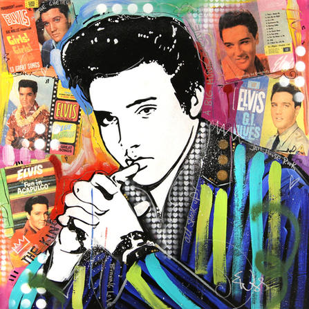 """""""ELVIS"""" SOLD Original acrylic and mixed media on canvas 30"""" x 48"""""""