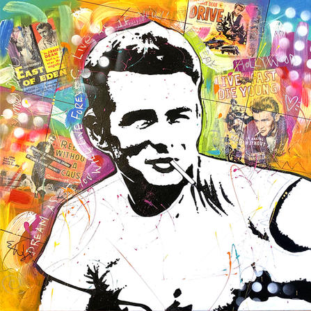 """""""JAMES DEAN"""" SOLD Original painting on canvas. 34"""" x 34"""""""