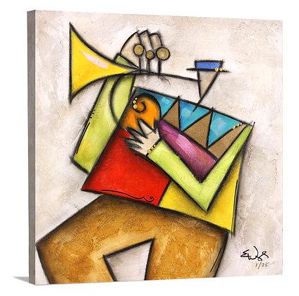 Blue Hat Trumpet on Canvas