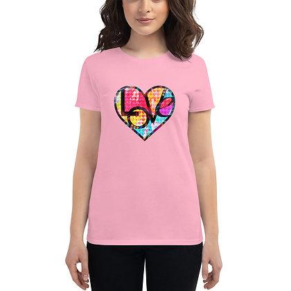 Women's short sleeve t-shirt (GRAFFITI HEART LOVE) by Eric Waugh