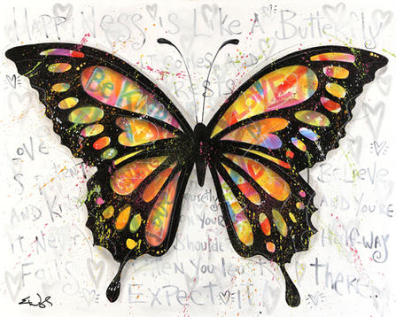 """""""HAPPINESS IS LIKE A BUTTERFLY"""" AVAILABLE Original acrylic on canvas 18"""" x 24"""""""