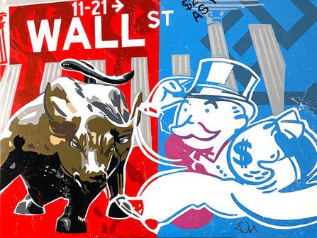 """WALL STREET"". SOLD Original acrylic on canvas  36"" x 48"""