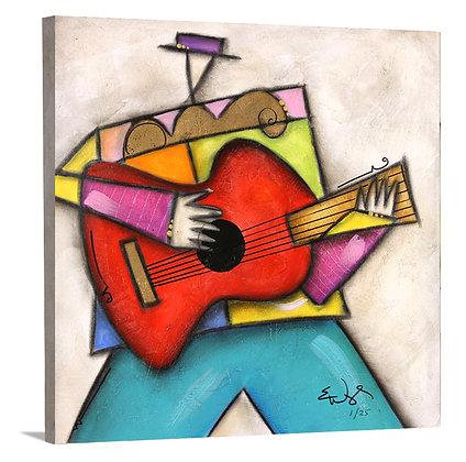 Purple Hat Guitar on Canvas