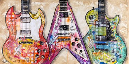 """""""GIBSON GUITAR HEROES"""" SOLD Original painting on canvas 30"""" x  60"""""""