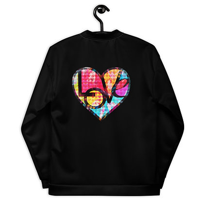 Unisex Bomber Jacket (GRAFFITI HEART LOVE) by Eric Waugh