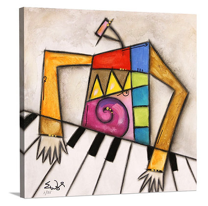Pink Hat Piano on Canvas