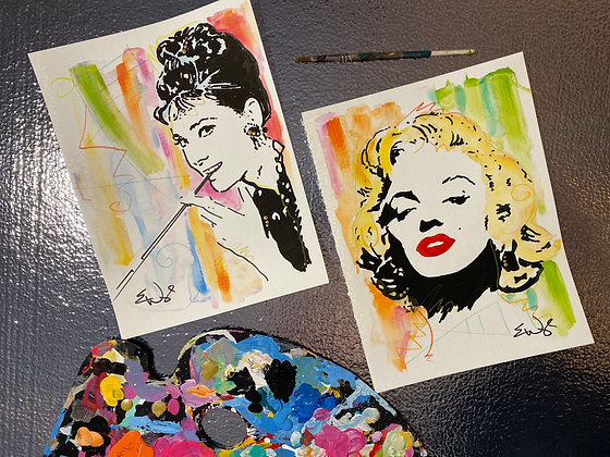 Marylin and Audrey Mixed Media Paintings