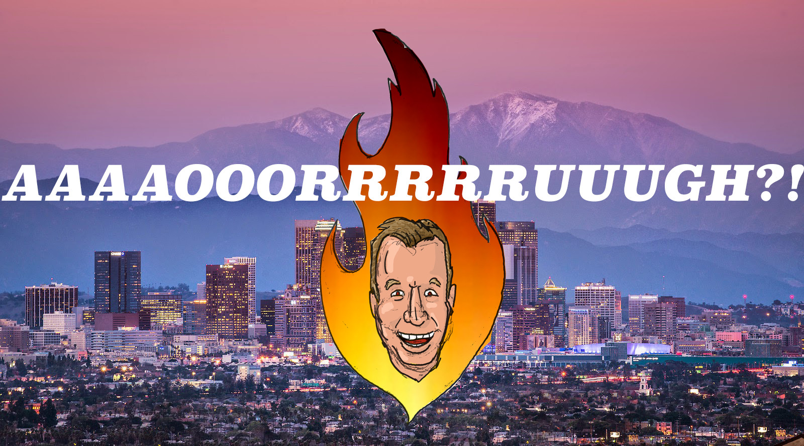 Tim Allen's Head in Hell Over Downtown Los Angeles