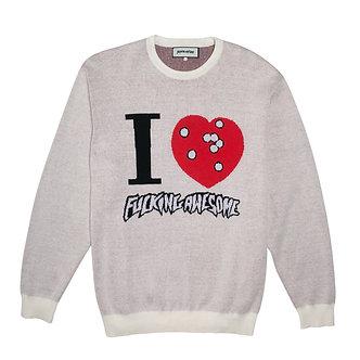 Fucking Awesome I Heart FA Knitted Sweater Cream