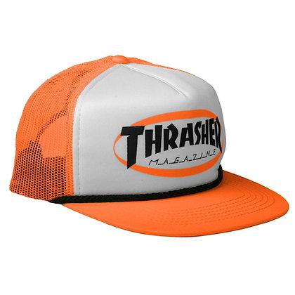 Thrasher Ellipse Mag Logo Trucker Rope Hat Org