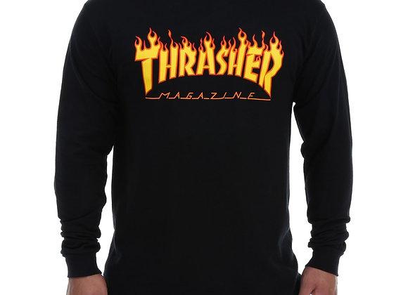Thrasher Flame Logo Shirt LS Blk