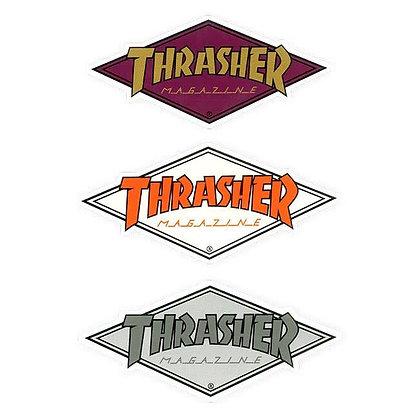 THRASHER Diamond Logo Sticker 10.4cm x 4.5cm.