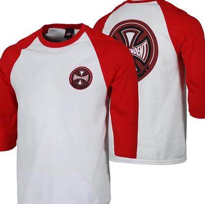 Independent Cross 78 Shirt Raglan Wht Rd