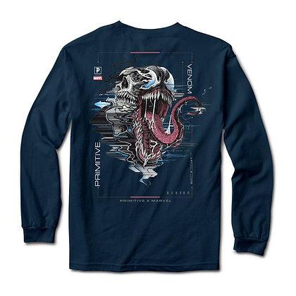 Primitive X Marvel Venom Shirt LS Blu