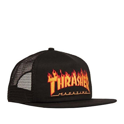 Thrasher Flame Logo Embroidered Mesh Cap Blk