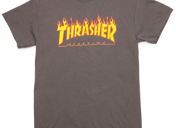 Thrasher Flame Logo Tshirt Gry
