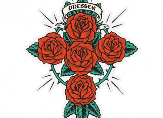 Santa Cruz 11x10cm Dressen Rose Sticker