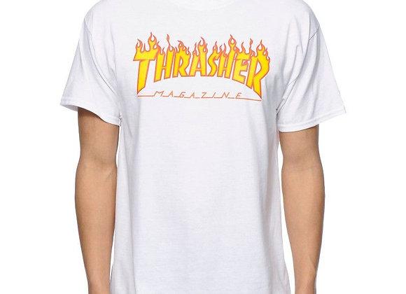 Thrasher Flame Logo T-shirt wht