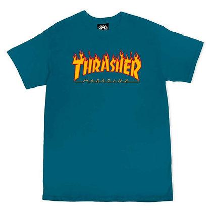Thrasher Flame Logo Tshirt  Glp Blu