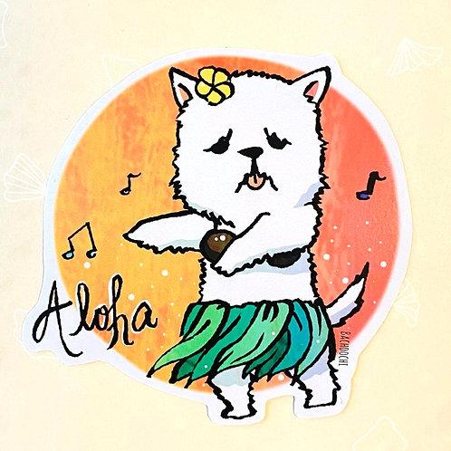 Hula Dog Westie Terrier Vinyl Sticker Laptop Decal
