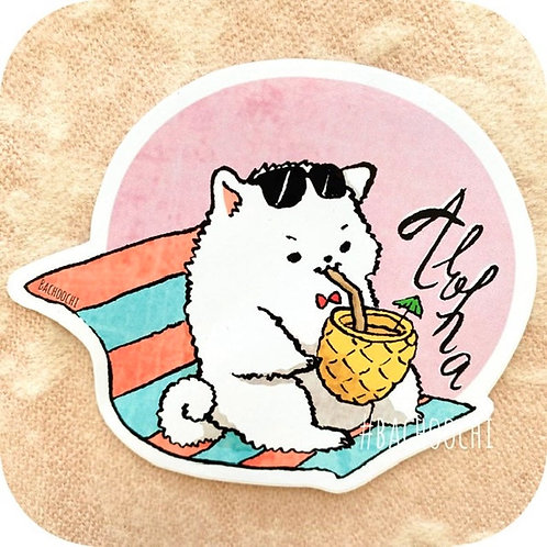 Pomeranian On Vacation Vinyl Sticker Laptop Decal