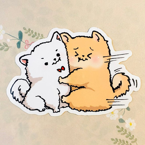 Pomeranian White and Tan Love Hug Vinyl Sticker Laptop Decal
