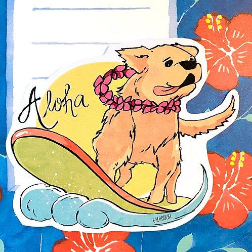 Surfing Golden Retriever Vinyl Sticker Laptop Decal