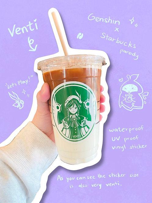 Venti Starbucks Parody Vinyl Sticker