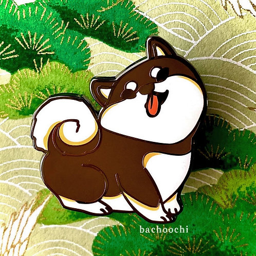 Black Shiba Inu Chubby Dog Pin Badge