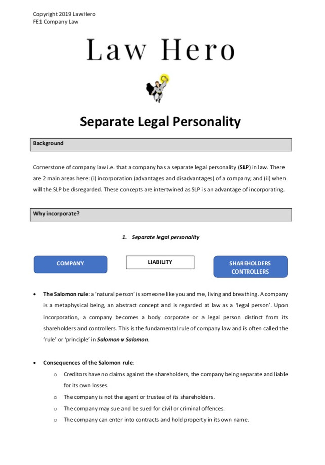 Company Law Seperate Legal Personality