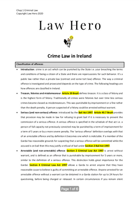 Chap 1 Crime law in Ireland