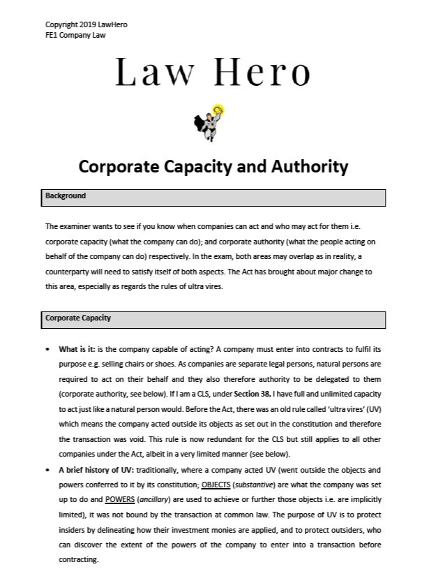 Company Law Corporate Capacity and Authority