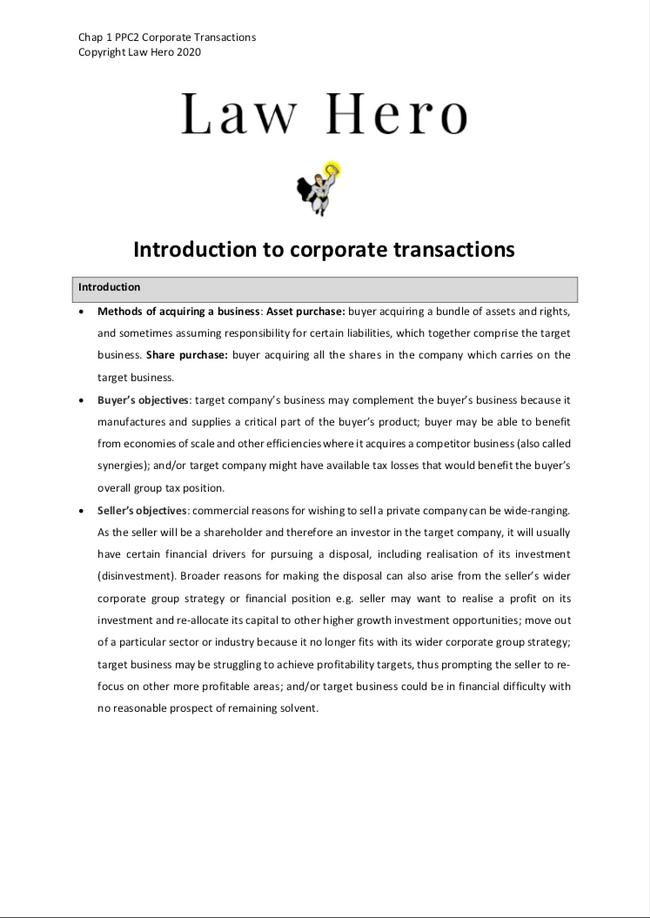 Chap 1 Corporate transactions