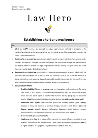 Chap 1 Tort and negligence