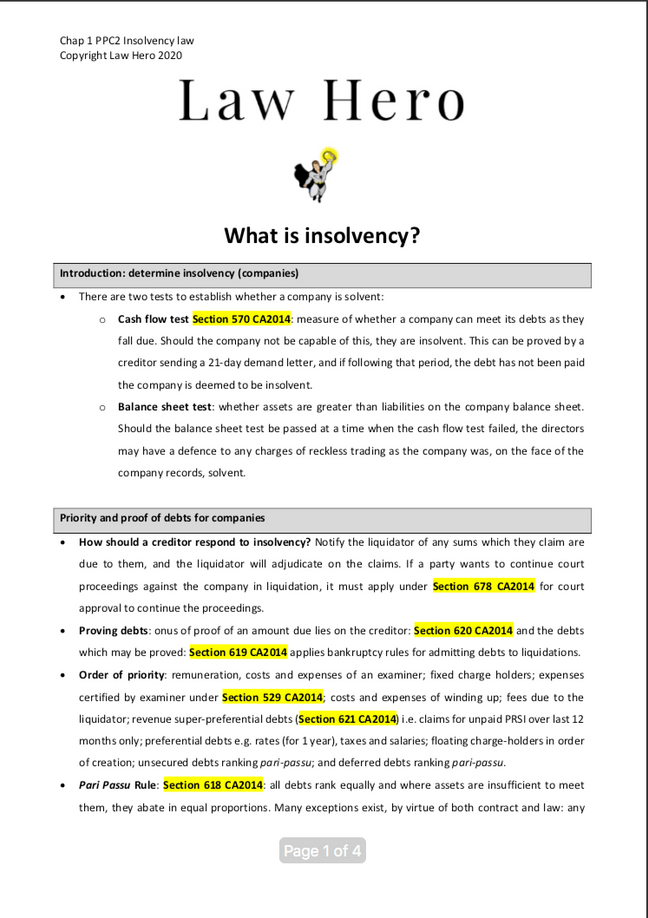 Chap 1 What is insolvency