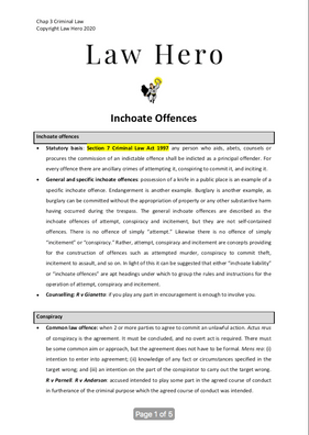 Chap 3 Incohate offences
