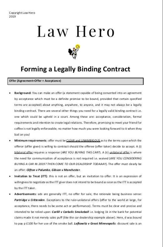 Forming a legally binding contract
