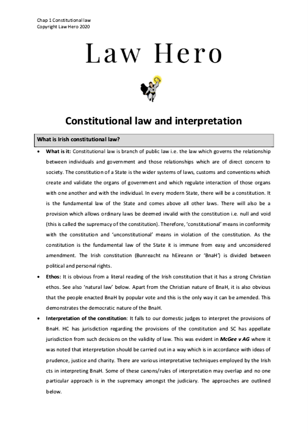 Chap 1 Constitutional law and interpretation
