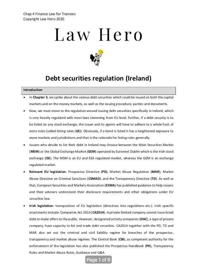 Chap 4 Debt securities regulation