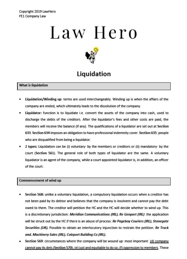Company Law Liquidation