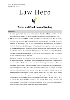 Chap 1 Terms and conditions of trading