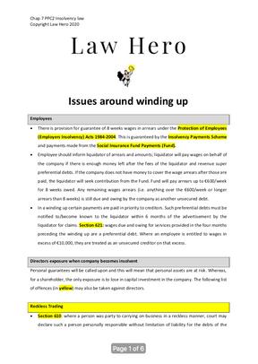 Chap 7 Issues around liquidation